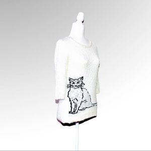 Love By Design Lovely White Cat Sweater NWOT